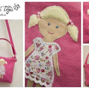 Nukuga kott - selle koti omanikuks saab üks pisike tüdruk. Koti mõõdud 18*18cm, nukk ise 13cm.