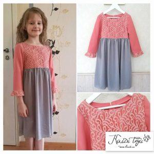 Uus kleit pikkusele 140cm, pildil seljas 136cm pikkusel tüdrukul. Hind 30,- euri